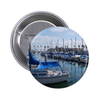 Boats in harbor 6 cm round badge