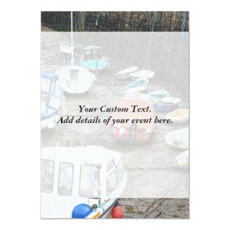 Boats in Harbor at Low Tide. 13 Cm X 18 Cm Invitation Card