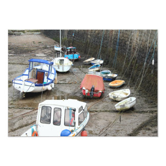 Boats in Harbor at Low Tide. 13 Cm X 18 Cm Invitation Card