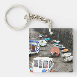 Boats in Harbor at Low Tide. Key Ring
