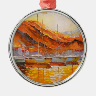 Boats in Harbor Christmas Ornament
