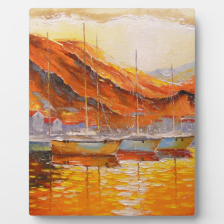 Boats in Harbor Display Plaques