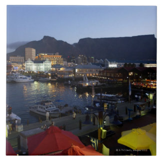 Boats in harbor, South Africa Large Square Tile