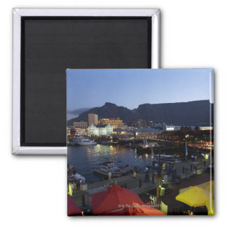 Boats in harbor, South Africa Square Magnet