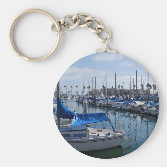 Boats in harbour basic round button key ring