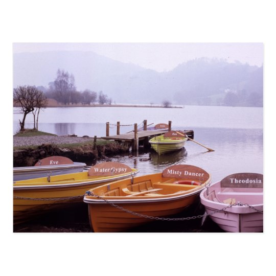 Boats in Lake District Northern England Postcard