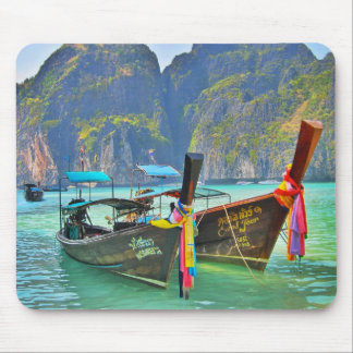 Boats in Maya Bay Mouse Mat