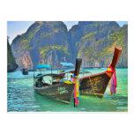 Boats in Maya Bay Post Card