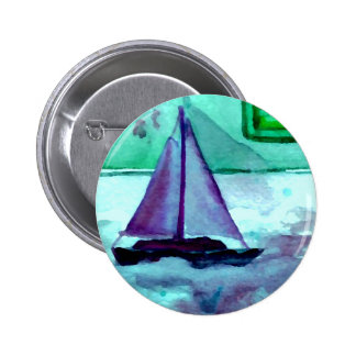 Boats in the Bathtub Sailing Art CricketDiane 6 Cm Round Badge