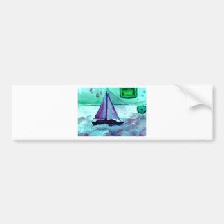 Boats in the Bathtub Sailing Art CricketDiane Bumper Sticker