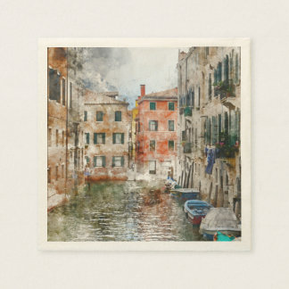 Boats in the Canals of Venice Italy Disposable Serviettes