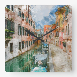 Boats in the Canals of Venice Italy Square Wall Clock