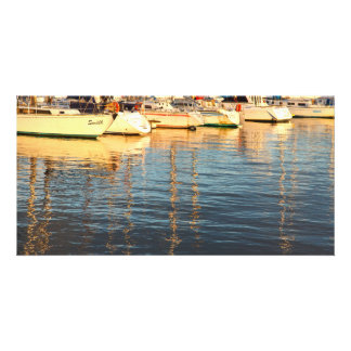 Boats in the marina personalised photo card