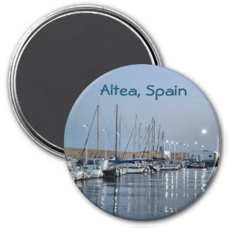Boats in the port of Altea 7.5 Cm Round Magnet