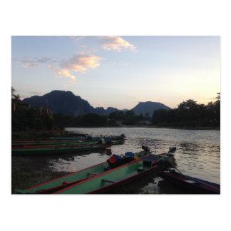 Boats in Vang Vieng Postcard