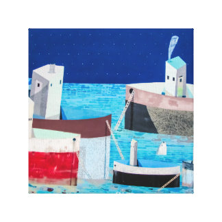 Boats in Water Abstract Graffiti Canvas Art