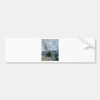 Boats Lying at Low Tide at Facamp by Claude Monet Bumper Sticker