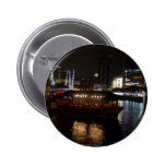 Boats moored at Clarke Quay Pinback Buttons