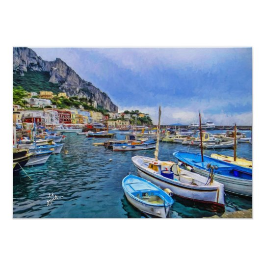 Boats of Capri Italian Photo Art Poster