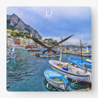 Boats of Capri Italian Photo Art Square Wall Clock