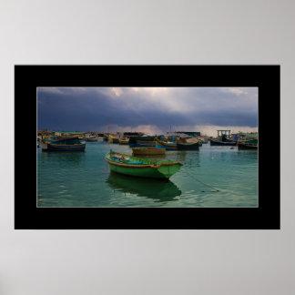Boats of fishing village Marsaxlokk on Malta Poster