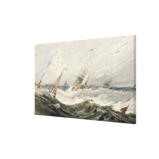Boats on a Stormy Sea (w/c over graphite on wove p Canvas Print