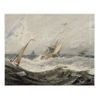 Boats on a Stormy Sea (w/c over graphite on wove p Posters