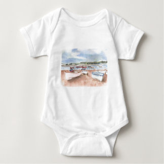 boats on back beach baby bodysuit