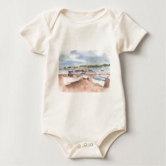boats on back beach baby bodysuit