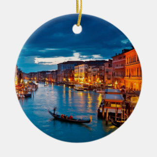 Boats On Canal Water Colorful Venice Italy Round Ceramic Decoration