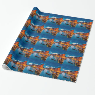 Boats On Canal Water Colorful Venice Italy Wrapping Paper