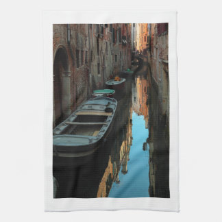Boats on Canal Water Venice Italy Buildings Tea Towel