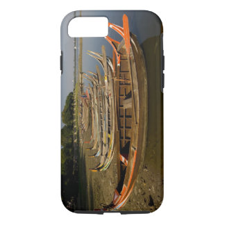 Boats on lake between Kyauktawgyi Paya and iPhone 8/7 Case