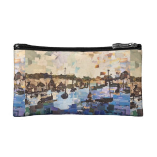 Boats On Lake Erie Paper Collage Cosmetic Bag