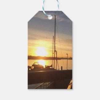 Boats on Marina at Sunset Gift Tags