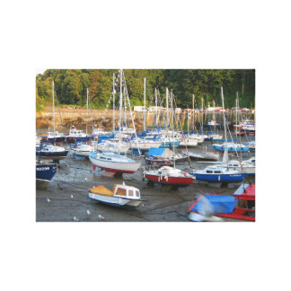 Boats on Shore UK Beach Side Town Wall Art Canvas