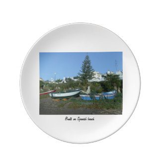 Boats on Spanish beach Plate Porcelain Plates