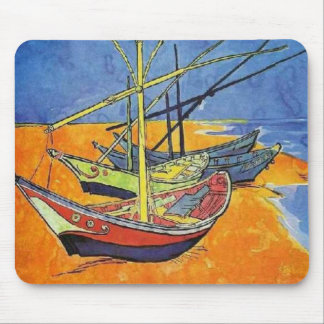 Boats on the Beach by Vincent van Gogh Mouse Mat