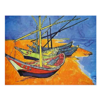 Boats on the Beach by Vincent van Gogh Postcard
