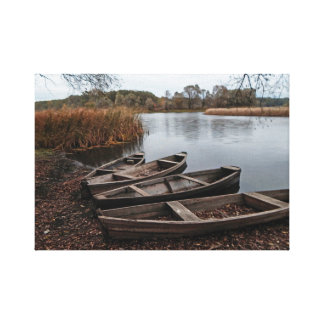 Boats on the river bank. canvas print