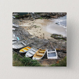 Boats on the shore of Gordon's Bay 15 Cm Square Badge