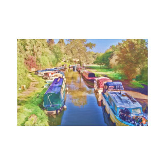 Boats on the Somerset Canal Canvas Print
