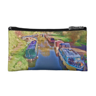 Boats on the Somerset Canal Makeup Bags