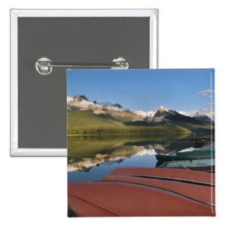 Boats parked on the lakeshore of Maligne Lake, 15 Cm Square Badge