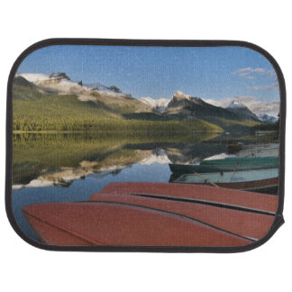 Boats parked on the lakeshore of Maligne Lake, Floor Mat