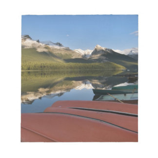 Boats parked on the lakeshore of Maligne Lake, Notepad
