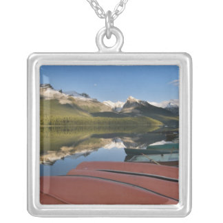 Boats parked on the lakeshore of Maligne Lake, Silver Plated Necklace