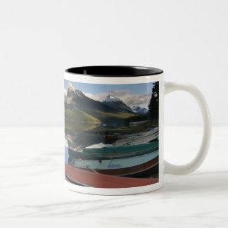 Boats parked on the lakeshore of Maligne Lake, Two-Tone Coffee Mug