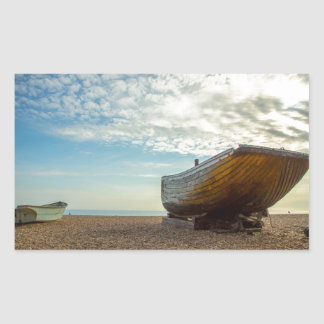 Boats, pebbles and late summer sun rectangular sticker