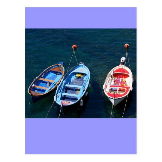 Boats Riomaggiore harbour Postcard